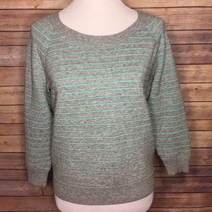 Madewell Gray Blue Striped Pullover Sweater